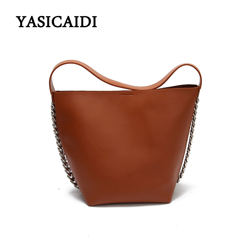 High Quality Designer Vintage Wome Bucket Bag Chain Oil pu L