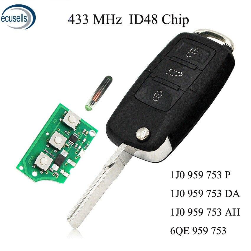 1K0 959 753 G Folding Flip Key 3 Button 434MHZ ID48 For VW VOLKSWAGEN SEAT