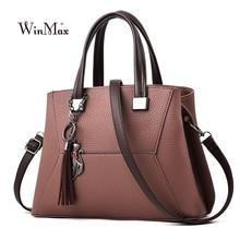 Winmax Women Leather Handbag Vintage Shoulder Bag Female Casual Tote Bag Quality Lady Designer Handbags Crossbody Bag sac a main