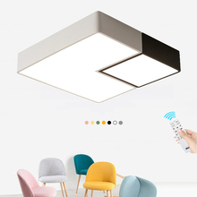 Simple Geometric Square LED Ceiling Lamp Kitchen Bedroom modern Black/White lamparas techo restaurant House Lighting Fixture