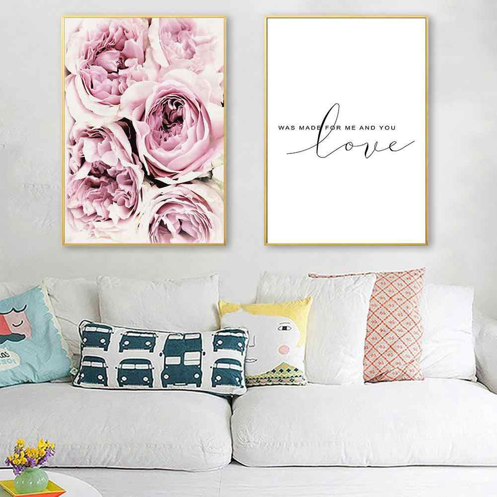 Flower Letter Love Canvas Painting Wall Living Room Bedroom Picture Poster Decor Wall Painting Decoration Calligraphy
