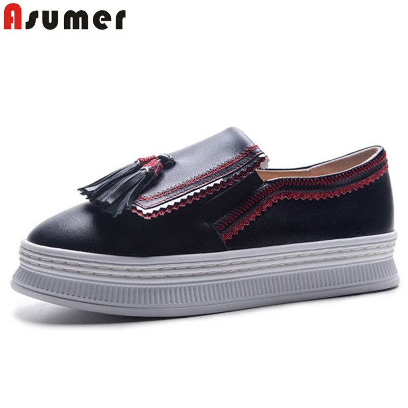 ASUMER big size 34-42 fashion spring autumn shoes woman round toe genuine leather shoes flat platform ladies shoes women flats стоимость