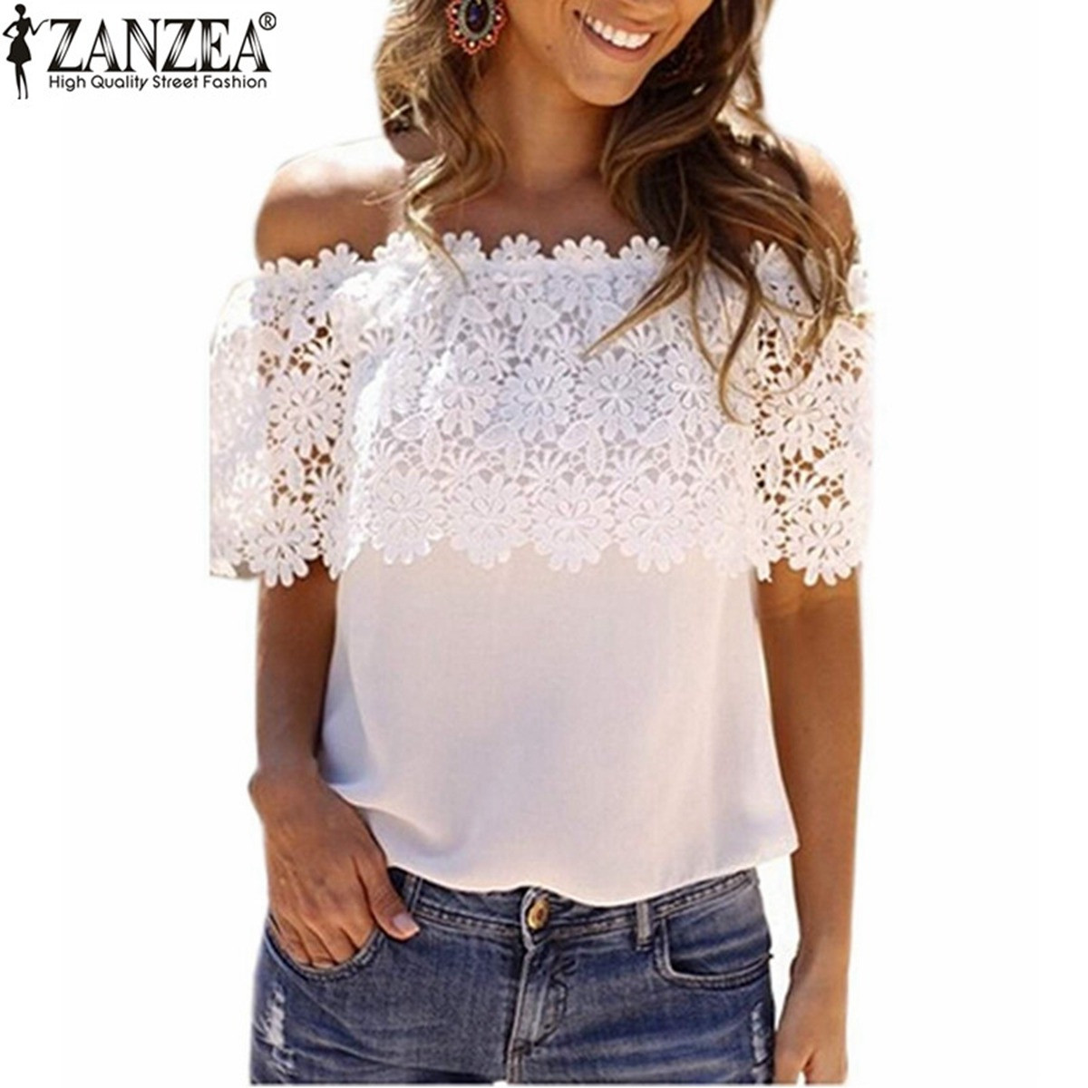 ZANZEA Women 2016 Summer Chiffon Lace Crochet   Blouse     Shirts   Sexy Tops Casual Off Shoulder Short Sleeve Plus Size Female Blusas