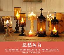 все цены на Wrought iron glass candlestick furnishing articles romantic candlelight dinner table candle holders онлайн