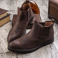 Daviko Fashion winter male boots pointed toe brockden vintage fashion scrub boots chelsea high boots male shoes