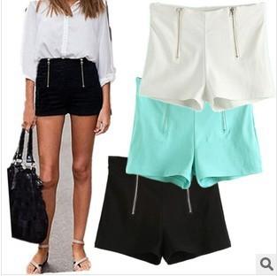 2014 nueva moda mujeres del diseño Simple de la corto doble cremallera estilo europeo blanco negro azul pantalones cortos del envío gratis SP01