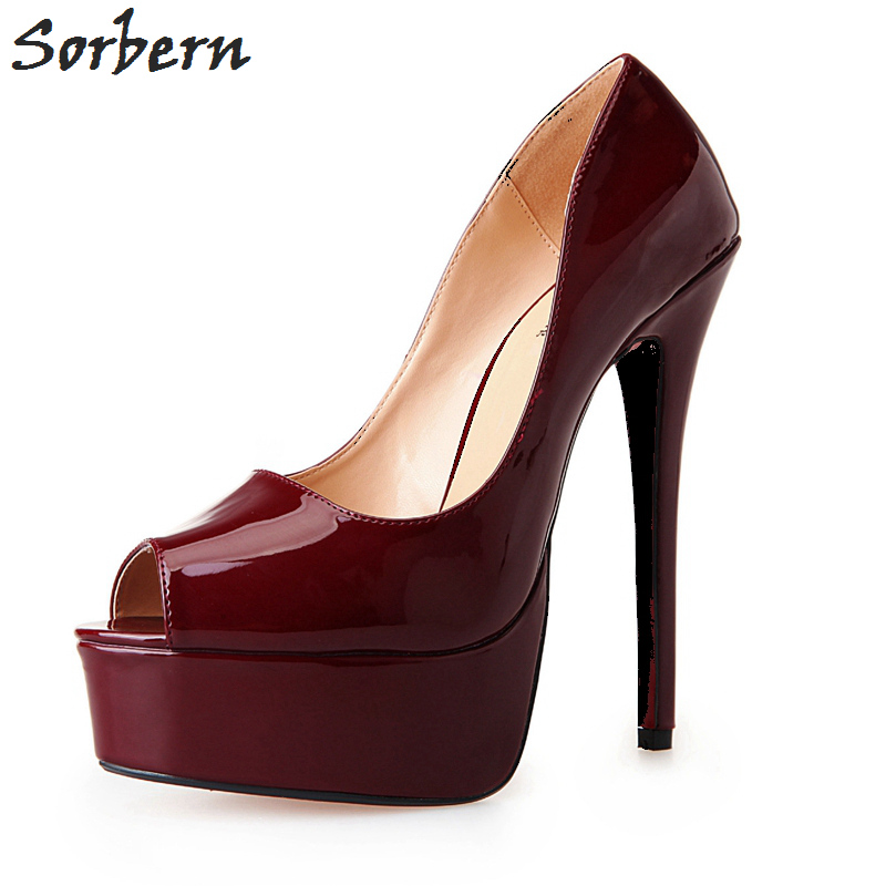 цена на Sorbern Patent Leather Women Pump 4Cm Platform Slip On Peep Toe Red Sole Extrem High Heel Shoes Women Dress Shoe Plus Size 40-46