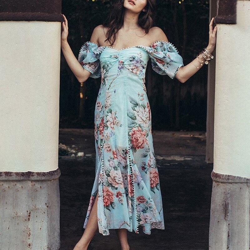2019 bohème femmes épaule dénudée été Sexy bleu fleur imprime à manches courtes robes haute fente fête élégante Maxi robe Vestidos