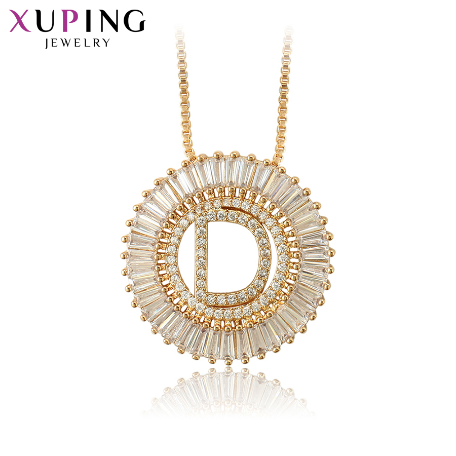 Xuping Letter Design Pendant Necklace Jewelry for Women Girls Small Fresh Gold-color Plated Gifts S122.5-34438