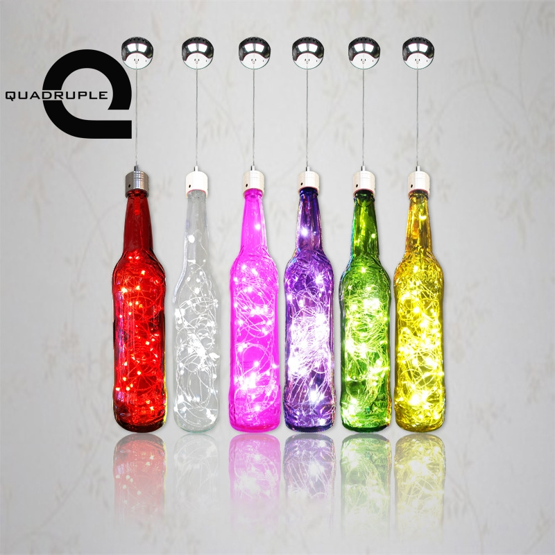 Quadruple LED Wine Bottle Pendant Light Starry Sky LED Hanging Lamp Creative Bar Cafe Glass Bottle Lighting Decoration цена 2017