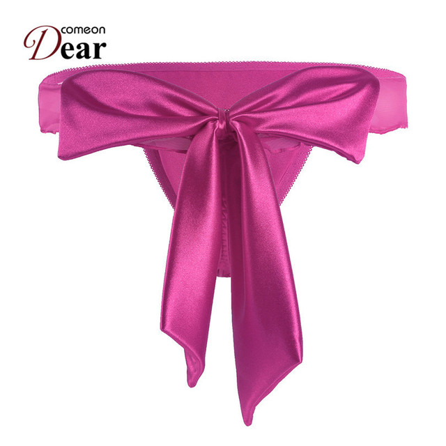 39a889bac Comeondear PA5082 Plus Size Sexy Bow Satin Panties Ropa Interior Femenina  Thongs Calcinhas Para Mulheres Lace Female Briefs