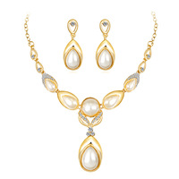 Dubai Jewelry Sets Luxurious Necklace Set Earrings Pearl Crystal Wedding Jewellery Set for Women necklace set
