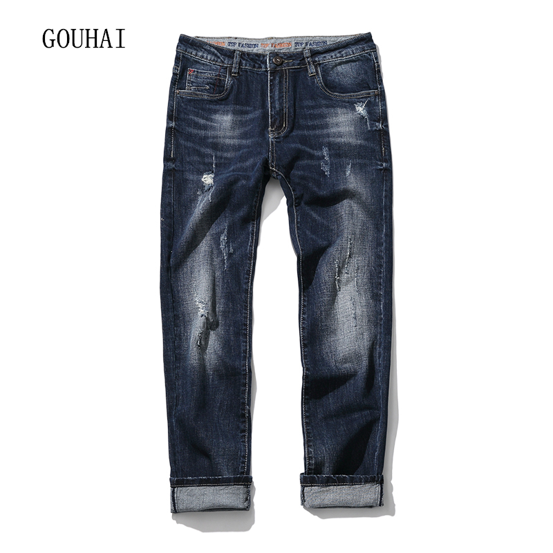 Men Jeans 2017 Autumn Winter Mens Denim Jean Blue Cotton Pants Men Denim Trousers Slim Fit Jeans Male Plus Size High Quality hot new arrival mens jeans white hole jeans beggar style pants male taper straight slim high quality men pants plus size mb324