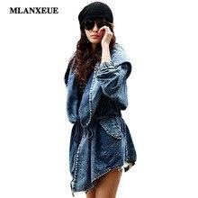 Mlanxeue/осень джинсовые пальто длинная куртка с секциями ветровка Повседневная Тонкий пальто женщин ветровка с капюшоном Тренч casaco feminino
