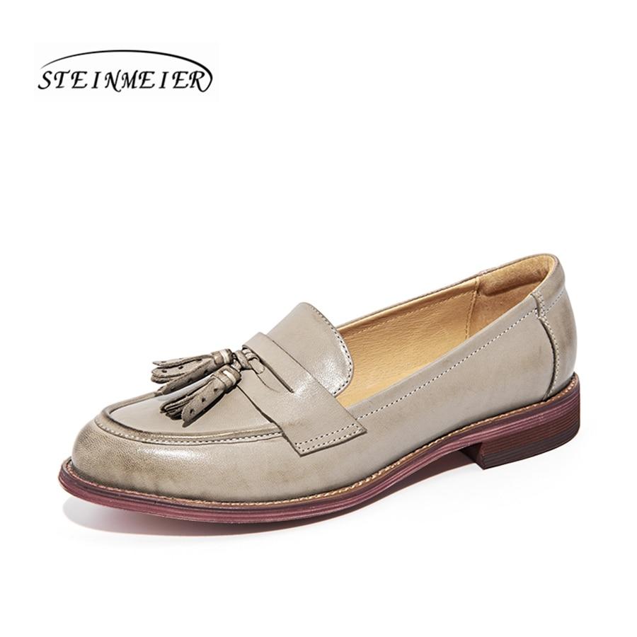 Yinzo women sheepskin flats brogue oxford shoes woman casual tassel bow design comfortable british shoes for women