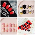 New 24PCS/pack Top Quality Fake Nails Make up Faux Ongles 16 Design Tips Nail Sex  Cekc   Free Glue