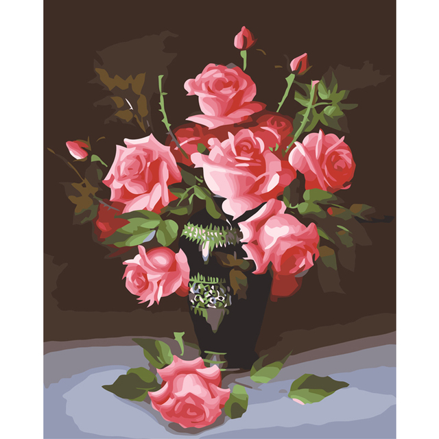 Haochu Nordic Elegant Blossom Flower Pot Canvas Painting Diy
