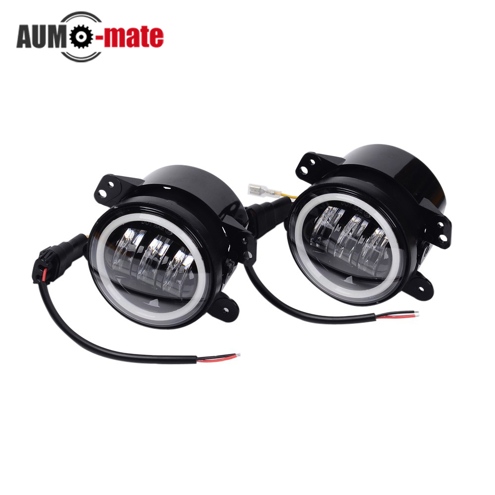 ФОТО 4 inch Led Front Bumper Fog Light with Angle Eyes 30W Round Driving Lights for Exterior Light 4WD