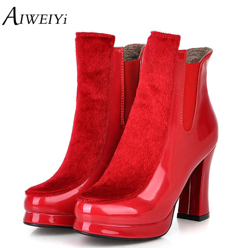 AIWEIYi High Heels Women Mid Calf Boots Patent Leather Fur Warm Winter Snow Boots Black Red Slip On Footwear Shoes Botas Shoes