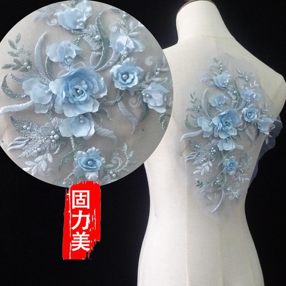Pearl Beaded 3D Flowers Lace Applique Wedding Dress Decor Floral Patch Costume