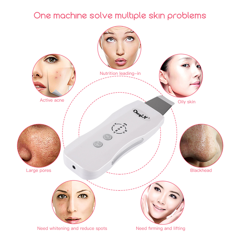 Ultrasonic Ion Skin Scrubber Rechargeable Deep Cleaning High Frequency Vibration Face Peeling Massager Spa Beauty Device S50