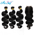 7A Brazilian Virgin Hair Body Wave 3bundles with1pcs Lace Closure Mink Brazilian Hair 100% Human Hair Brizilian Ali moda hair