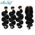 7a brasileño de la virgen del pelo onda del cuerpo 3 bundles with1pcs lace closure visón pelo brasileño 100% del pelo humano brizilian ali moda pelo