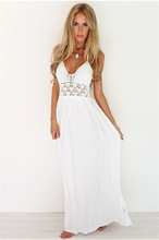 Summer New Women Casual Sexy Sleeveless Spaghetti Strap White Elegant Bohemian Beach Halter Floor Hollow Out Backless Dress