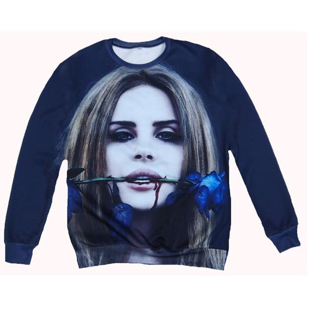 Blue Roses Crewneck 3d Hoodies Casual Lana Del Rey Harajuku