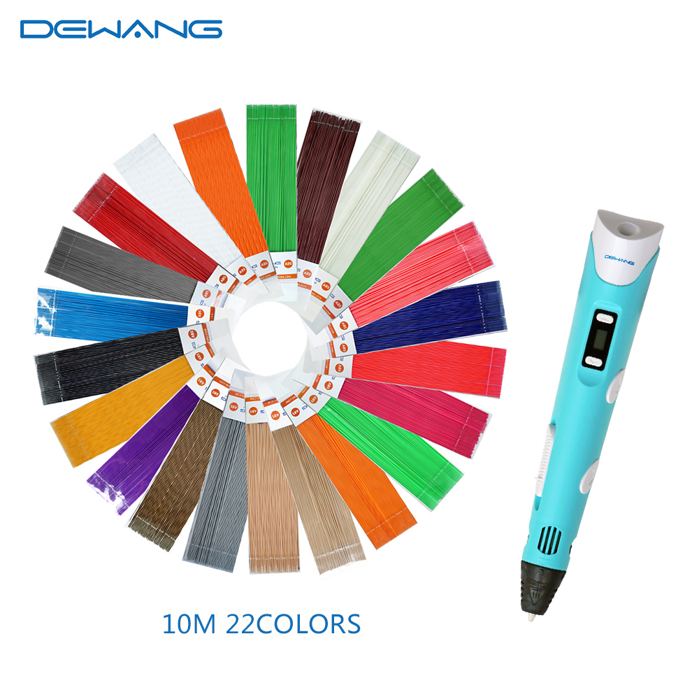 Dewang 3D Printer Pen With 220 Meters 22 Color Linear PLA Filament Safe Toy Kids Drawing Pens dewang factory 3d printer pen 3d printing pen kids drawing pen abs filament 100 200 meters 3d pen send from russia