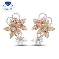 Fashion Women Jewelry Engagement Diamond Earrings In 14Kt Multi Tone Gold Jewelry for Women Wedding Gift WE55