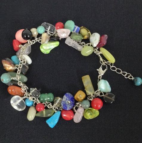 Brazalete de Perlas de Múltiples Pulsera de Piedra Natural, Semi Preciosa Pulsera De Piedra, Perlas Multicolor Joya Pulsera Surtido