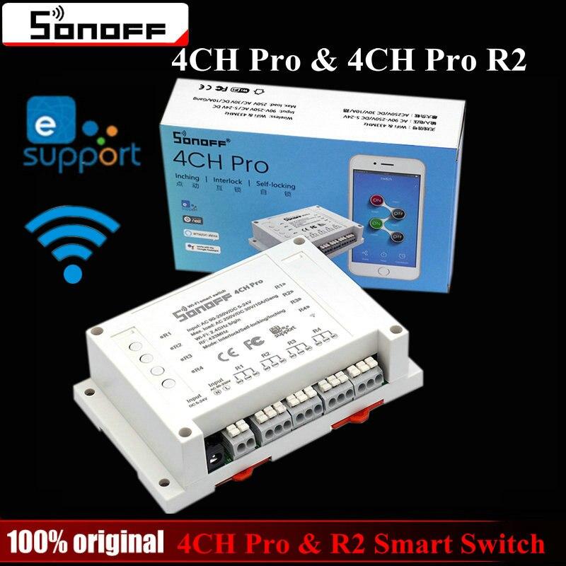 Sonoff 4CH Pro & Pro R2 Smart Wifi Interruttore di Casa 433 MHz RF Wifi Light Switch 4 Gang 3 Modi di Funzionamento A Impulsi Interlock Con Alexa