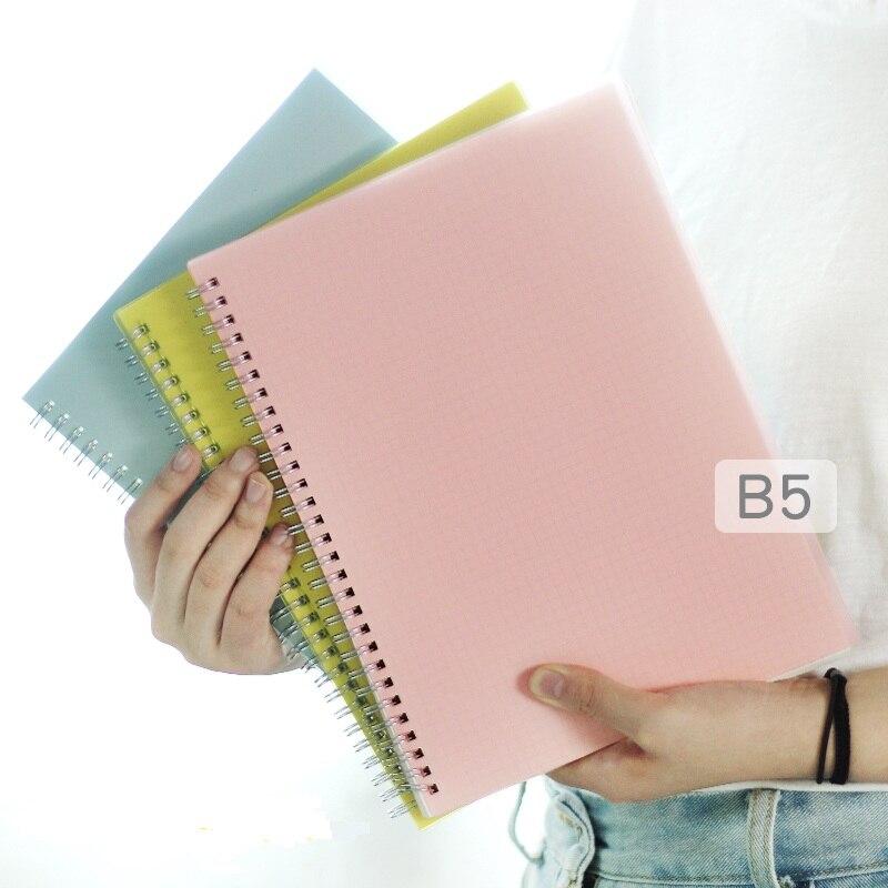 B5 de color PP cubierta rejilla/EN BLANCO/punto/línea bobina cuaderno vendaje planificador del organizador del programa oficina y suministros de la escuela