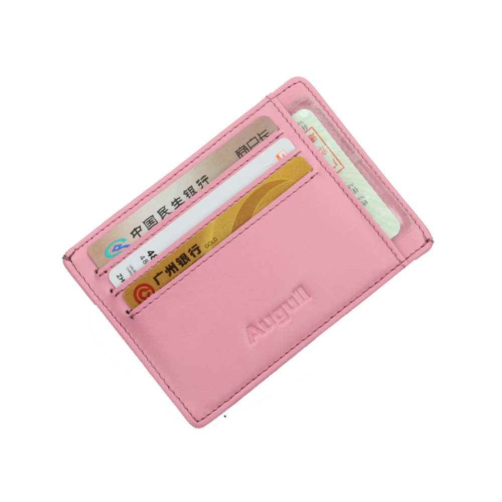 female slim mini leather credit id card holder brand wallet purse bag pouch book cover middle money clip 8 card slot case pink in card id holders from - Pink Card Holder