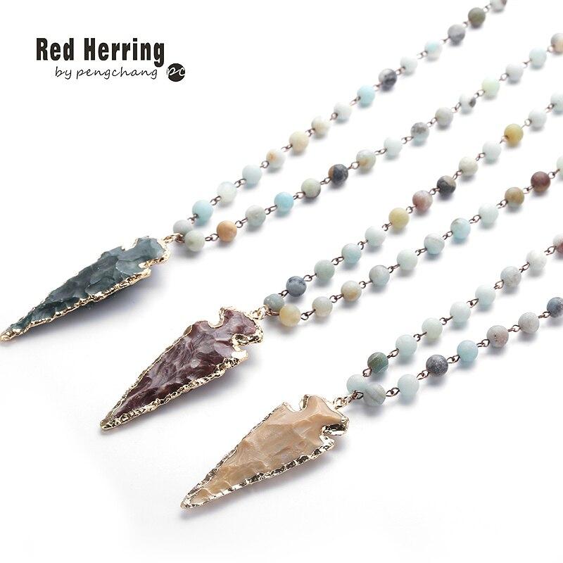 Fashion Amazonite Stones Rosary Chain Arrowhead Pendant Necklace Handmade Women Natural Stone Bead Neck