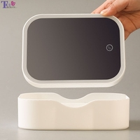 LED Makeup Multifunction Mirror USB Folding Desktop Simple Style Flat Cosmetic Mirrors With Touch Screen Storage Box Pink White