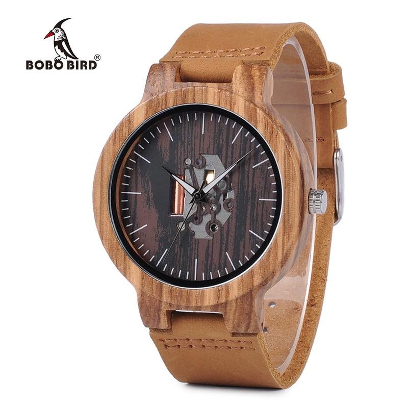BOBO BIRD V-H29 Mens Zebra Wood Quartz Wristwatch Doodle Print Dial Luminous Hand Bamboo Wooden Watch Black Leather uhren men