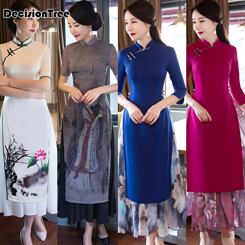 2017 été ao dai cheongsam folk style vietnam robes large jambe - Vêtements nationaux - Photo 5