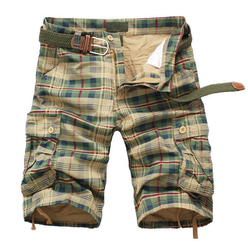 Hombres pantalones cortos 2019 de moda a cuadros pantalones cortos de playa para hombre Casual camuflaje pantalones cortos militar pantalones cortos de hombre de las Bermudas de carga de