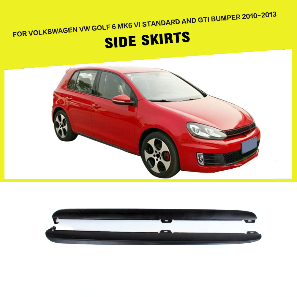 PP Unpainted Car Side Body Skirts Apron for VW Golf VI MK6 Standard Bumper and GTI 2010 - 2013PP Unpainted Car Side Body Skirts Apron for VW Golf VI MK6 Standard Bumper and GTI 2010 - 2013