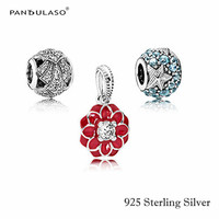 Hot Sale 100% 925 Sterling Silver Red Flowers & Blue Ocean Charm Beads Fits European Charms Bracelet DIY Jewelry Free shipping