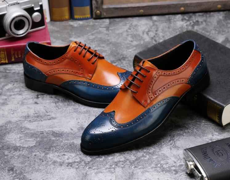 Vintage Azul Mocassins Inteligentes As Lace Esculpida Misturar Homens Casuais Genuíno Couro De Do Cores Pic Brogue Up Sapatos Escuro Patchwork Marrons wgqZF