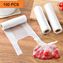 100PCS Transpare Roll Fresh-keeping Plastic Bags of Vacuum Food Saver Bag 3 Sizes Food Storage Bags with Handle Keep Fresh HK099