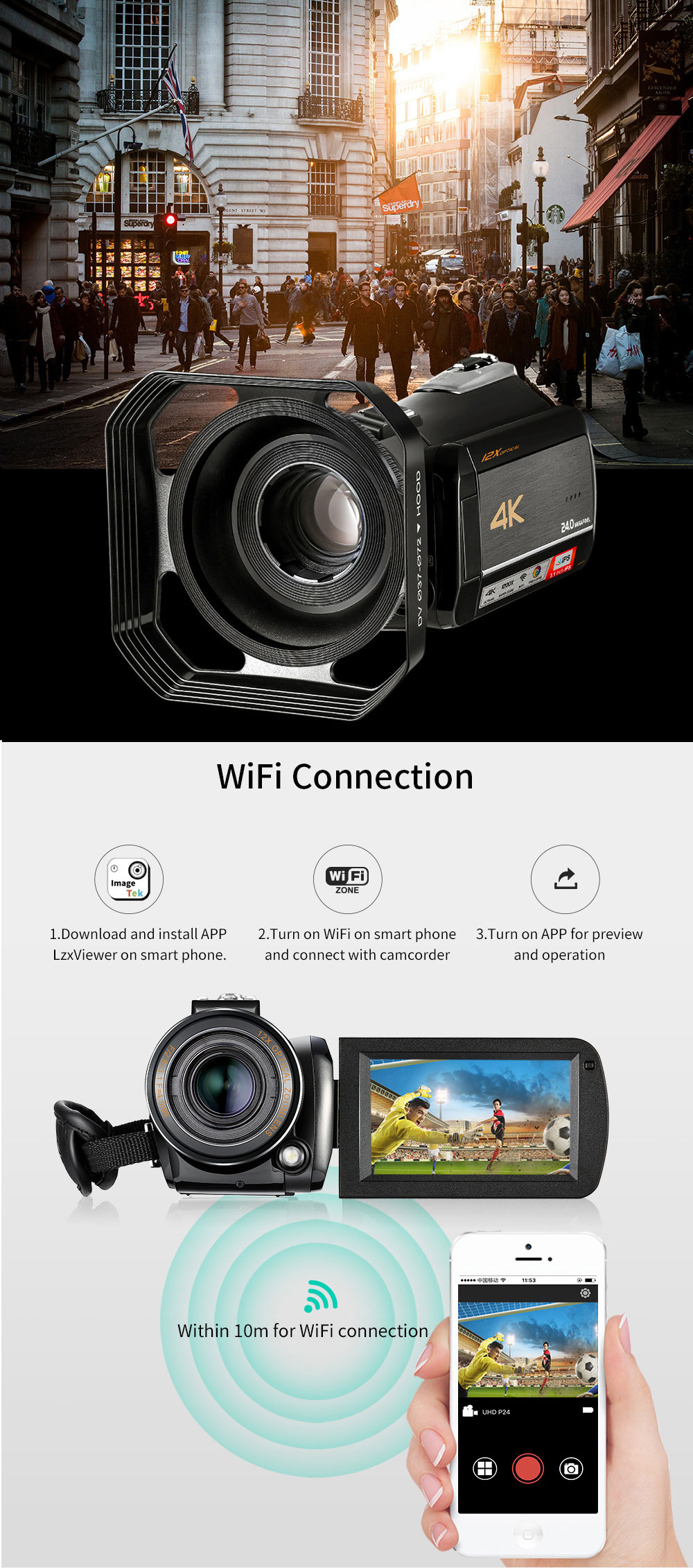 4k WIFI Digital Video Camcorder with 3.0'' Touch Display/12 x Optical Zoom Professional Home Use Digital Camcorder 8