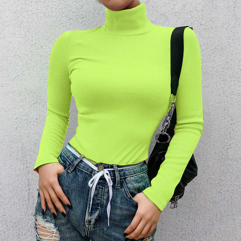 ZHYMIHRET 2019 Spring Ribbed Turtleneck TShirt Women Fluorescence Long Sleeve T-shirt Knitted Tops Camiseta Mujer Streetwear