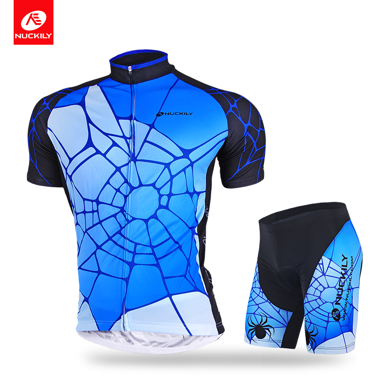 NUCKILY Cycling Short Sleeve Jersey With Short Spider Man Summer Suit For Cyclist AJ232BK293 nuckily nj513 cycling polyester short sleeve riding jersey for men black white size l