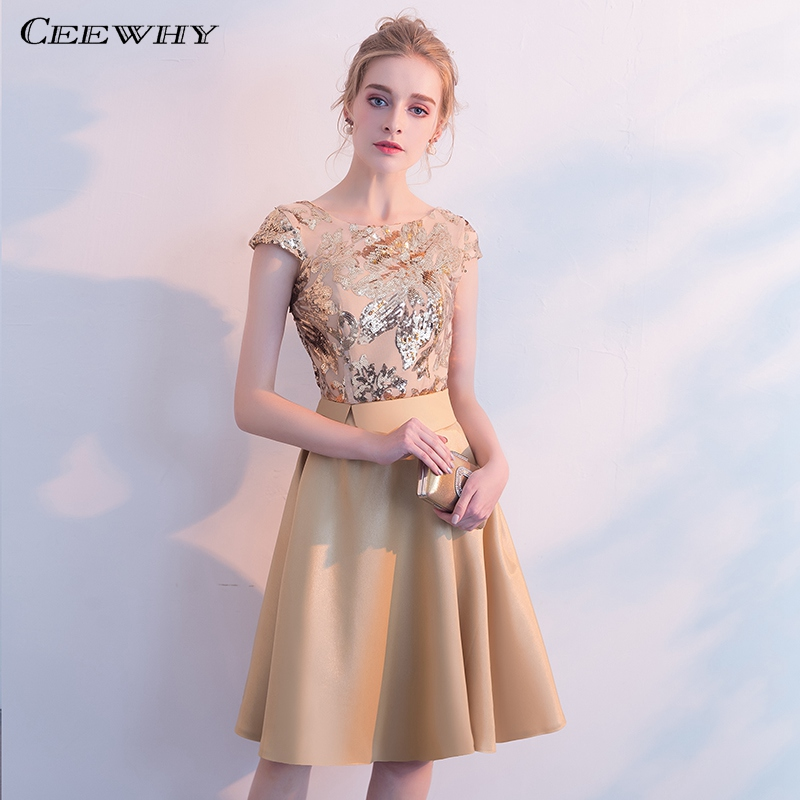 CEEWHY Gold Formal Dress Party Elegant Sequin Cocktail Dresses Short Prom Gown Homecoming Dresses Vestidos De Fiesta De Noche