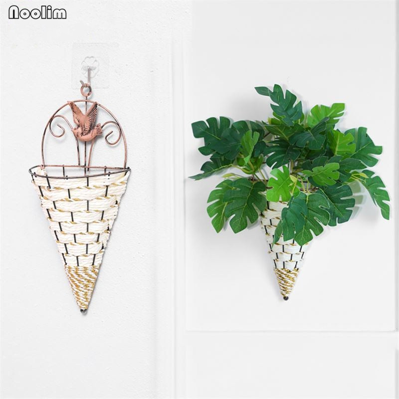 NOOLIM Cone Shape Wicker Flower Pots Wall Iron Flower ... on Decorative Wall Sconces For Flowers Hanging Baskets Delivery id=71991