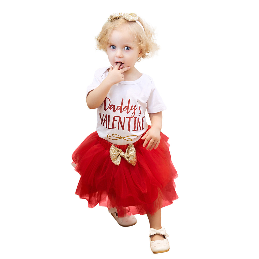Newborn Infant Baby Girl Letter Romper Tops+Skirt Valentines Day Outfits Set baby girl clothes newborn clothes A1
